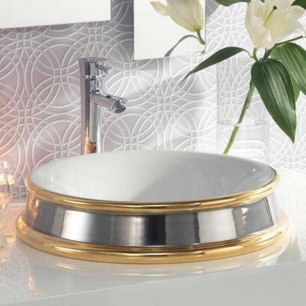 Semi-verzonken design badkamer gootsteen in vuur klei gemaakt in Italië, Manilo