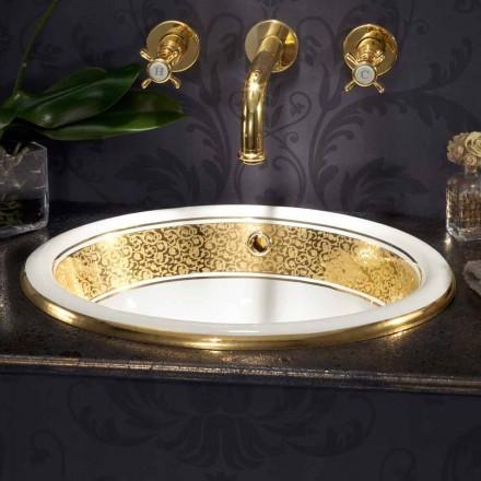 Ronde inbouwgootsteen in vuurklei en 24k goud gemaakt in Italië, Otis