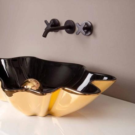 Designwastafel keramiek zwart en goud gemaakt in Italië Rayan