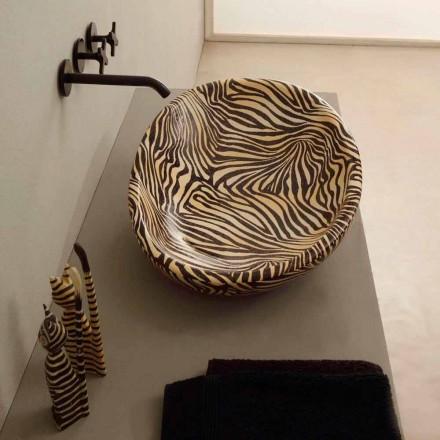 Design keramische aanrecht wastafel met oranje zebra gemaakt in Italië Glossy