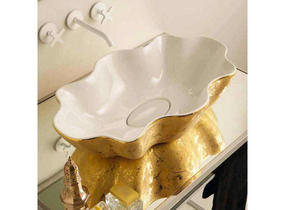 Aanrecht design wastafel in wit en goud keramiek gemaakt in Italy Cubo