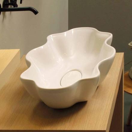 Moderne design aanrecht wastafel in witte keramiek gemaakt in Italië Cubo