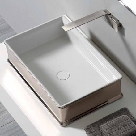 Eigentijdse design aanrecht keramische wastafel gemaakt in Italië Debora