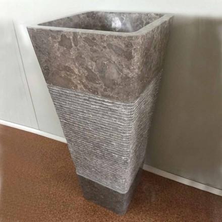 Grijze wastafel in voetstuk van Taffy steen, uniek stuk