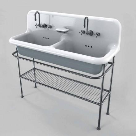 keramische wastafel met twee schalen op steunstructuur Calvin