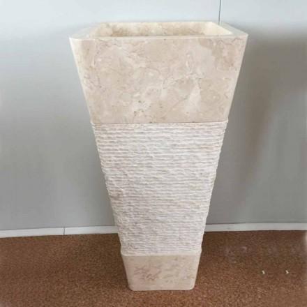 Wastafel in natuursteen met kolom Robin, wit stuk