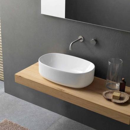 Ovale moderne witte keramische aanrecht wastafel - Ventori1