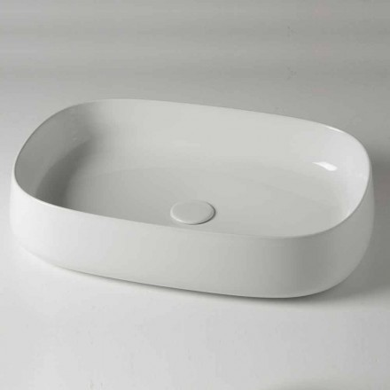 Ovale aanrecht wastafel L 60 cm in moderne keramiek Made in Italy - Cordino