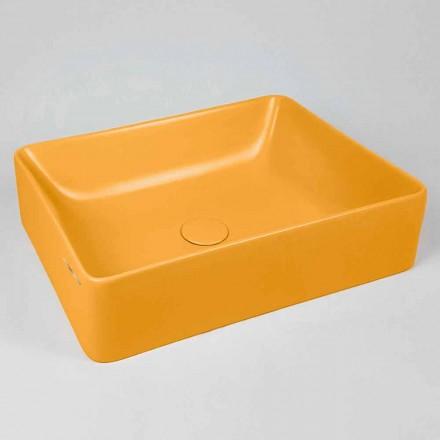 Rechthoekige aanrecht wastafel L 60 cm in keramiek Made in Italy - Rotolino