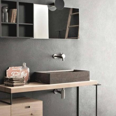 Rechthoekige en moderne aanrechtwastafel in designsteen - Farartlav3