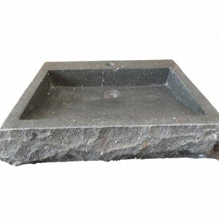 Nisa handgewassen, rechthoekige wasbak van steen andesiet