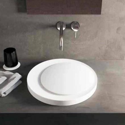 Design ronde wastafel aanrecht in Luxolid Solid Surface Crema