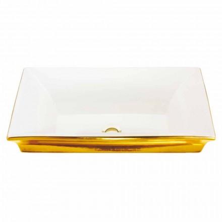 Moderne semi-verzonken gootsteen in vuurklei en 24-karaats goud, Guido
