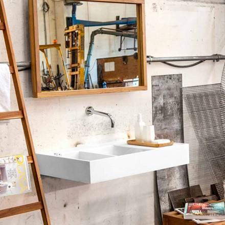 Wastafel aan de muur / vrijstaand met container in Solid Surface Enna