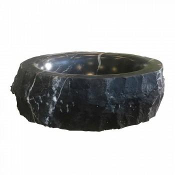 Ronde aanrecht wastafel in ruwe zwarte marquinia marmer gemaakt in Italië - Bernini