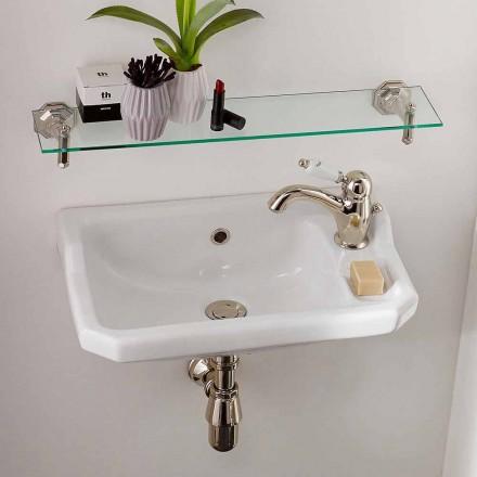 Opgeschorte handwasbak in klassiek designkeramiek, gemaakt in Italië - Nausica