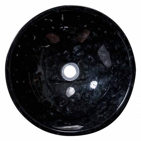 Aanrecht ontwerp handgemaakte wastafel in zwarte hars, Bultei