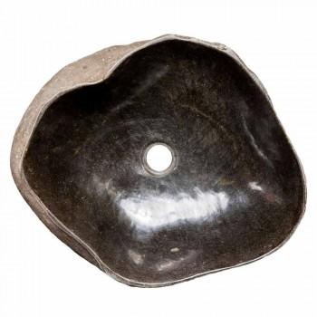 Aanrecht met de hand gemaakte gootsteen in riviersteen, Burcei