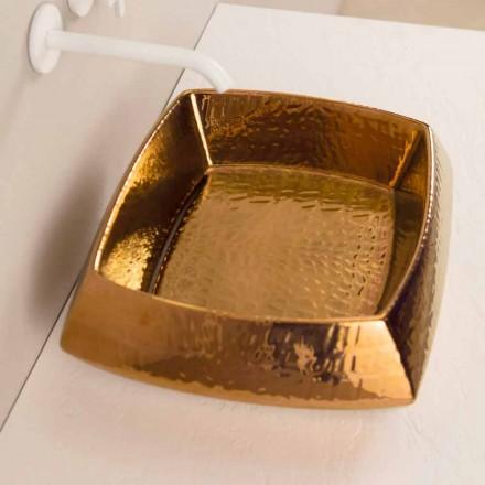 Designwastafel in bronzen keramiek gemaakt in Italië Simon