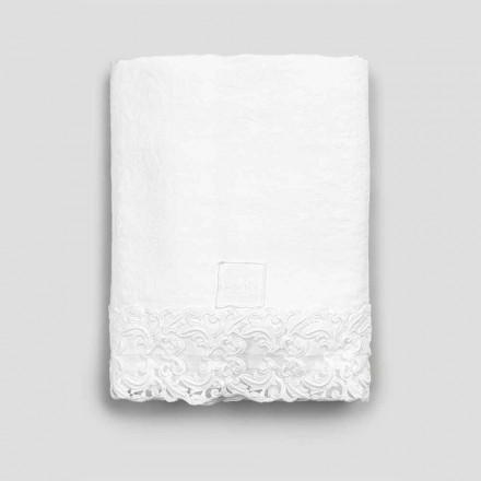 Wit linnen laken met kant voor tweepersoonsbed van hoge kwaliteit - Fiumana