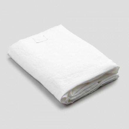 Hoeslaken in wit linnen voor tweepersoonsbed, luxe design Made in Italy - Fiumano
