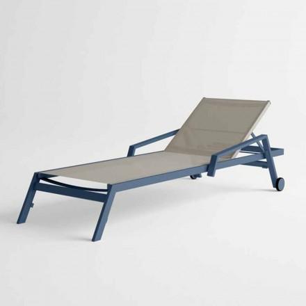 Buiten zonnebank in aluminium met wielen en armleuningen Modern Design - Carmine