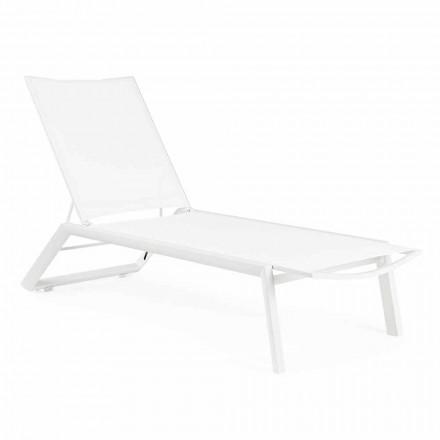 Liggende chaise longue voor buiten met wielen, aluminium en textileen - juweel