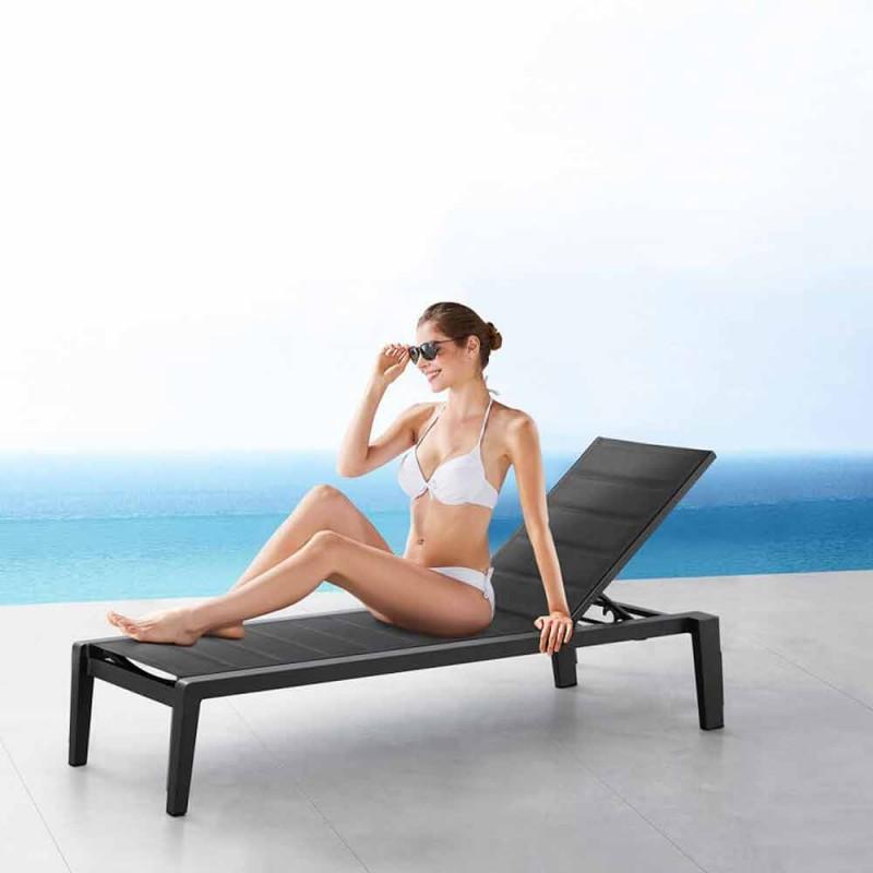 Aluminium zonnebank met textileen kussen, 3 afwerkingen - Moira