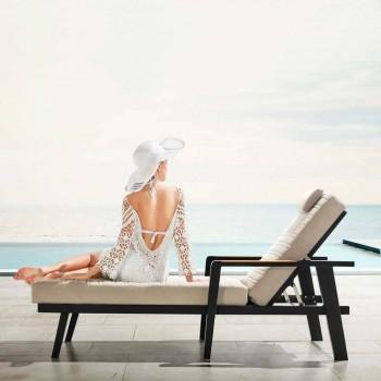 Aluminium zonnebank en teakhouten armleuningen met hoofdsteun - Moira