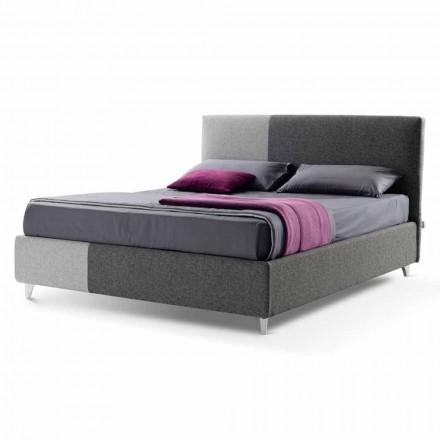 Tweepersoonsbed met Box in Bicolor Fabric Made in Italy - Jasmine