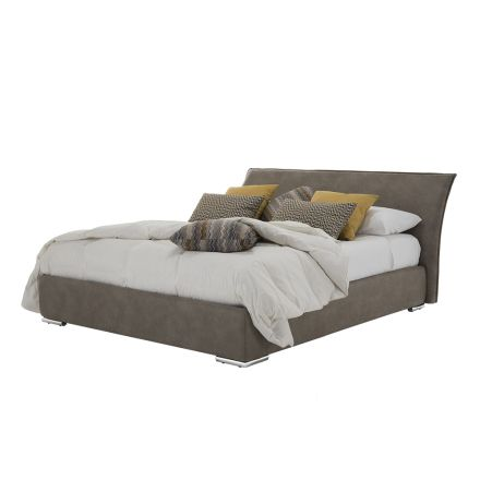 Dubbel bed met container in stof of eco-leer Made in Italy - Doremì