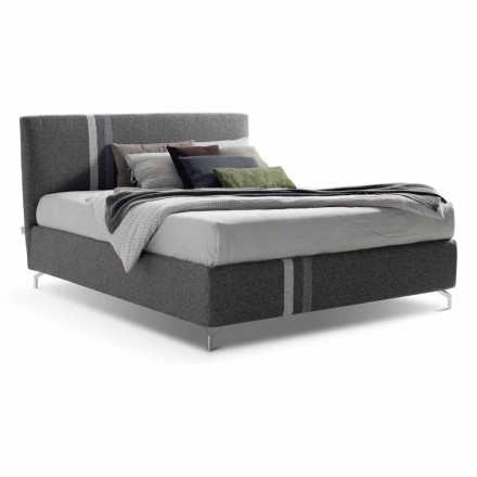 Stoffen tweepersoonsbed met container Made in Italy - Paolo