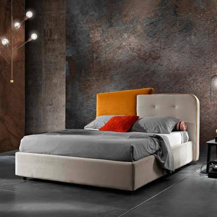 Modern design tweepersoonsbed in grijs en oranje fluweel - Plorifon