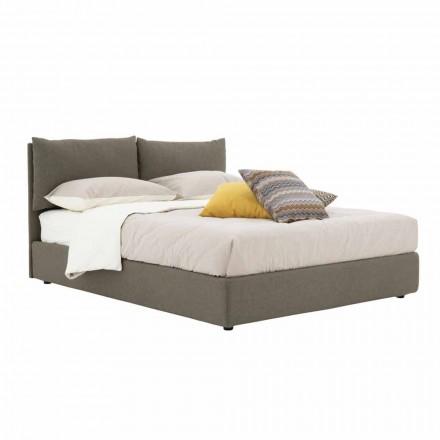 Dubbel bed bekleed met stof met zwarte voeten Made in Italy - Bandola