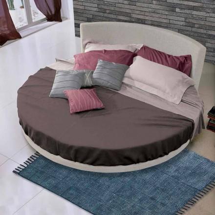 Rond design tweepersoonsbed bekleed met stof, gemaakt in Italië - Rello