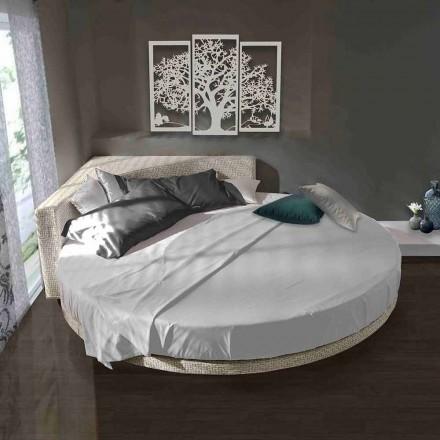 Modern rond tweepersoonsbed met hoekig hoofdeinde Made in Italy - Tima