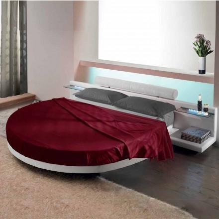 Rond tweepersoonsbed bedekt met ecoleer, gemaakt in Italië ontwerp - Vesio