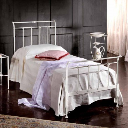 Single bed in smeedijzer volle Amanda bewerkt, gemaakt in Italië