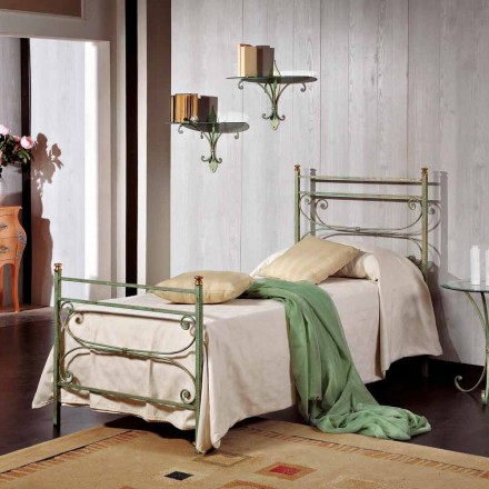 Single Bed in smeedijzer gehamerd vierkante Leila, made in Italy