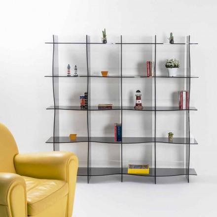 vrijstaande boekenkast / muur modern design Pam gerookt, made in Italy