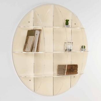 Bibliotheek beige muur modern design Don, made in Italy