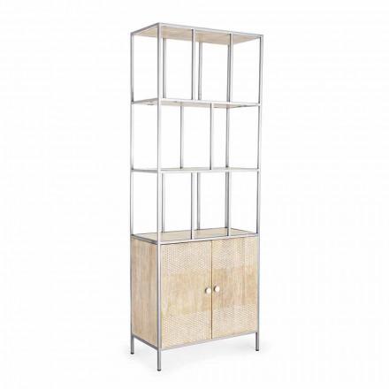 Boekenkast op de vloer met structuur in verchroomd staal en hout Homemotion - Madiz