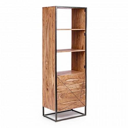 Boekenkast op de vloer met structuur in acaciahout en staal Homemotion - Golia