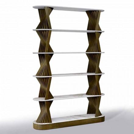 Luxe boekenplank in hout met bovenbladen van steengoed Made in Italy - Aspide