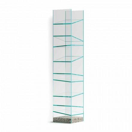Design boekenplank in glas met stalen onderstel Made in Italy - Biba