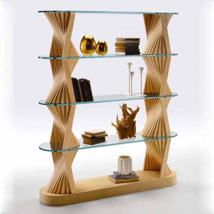 Luxe boekenkast op de vloer van glas en essenhout Made in Italy - Aspide