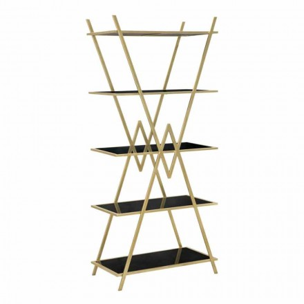 Moderne design boekenkast in ijzer, MDF en glas - Margot