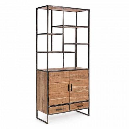 Homemotion boekenkast in geverfd staal met houten planken - Zompo