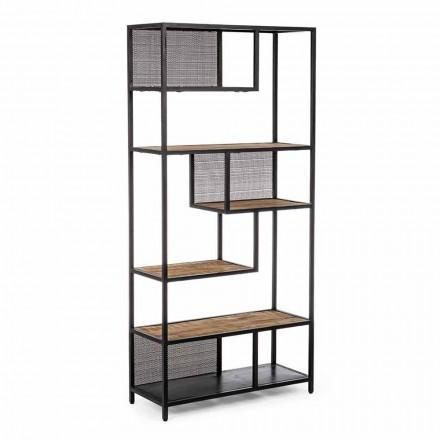 Homemotion boekenkast in geverfd staal met houten planken - Borino