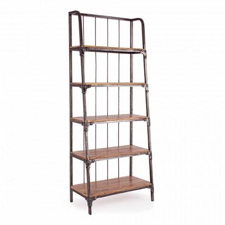 Homemotion boekenkast in geverfd staal met houten planken - Molina